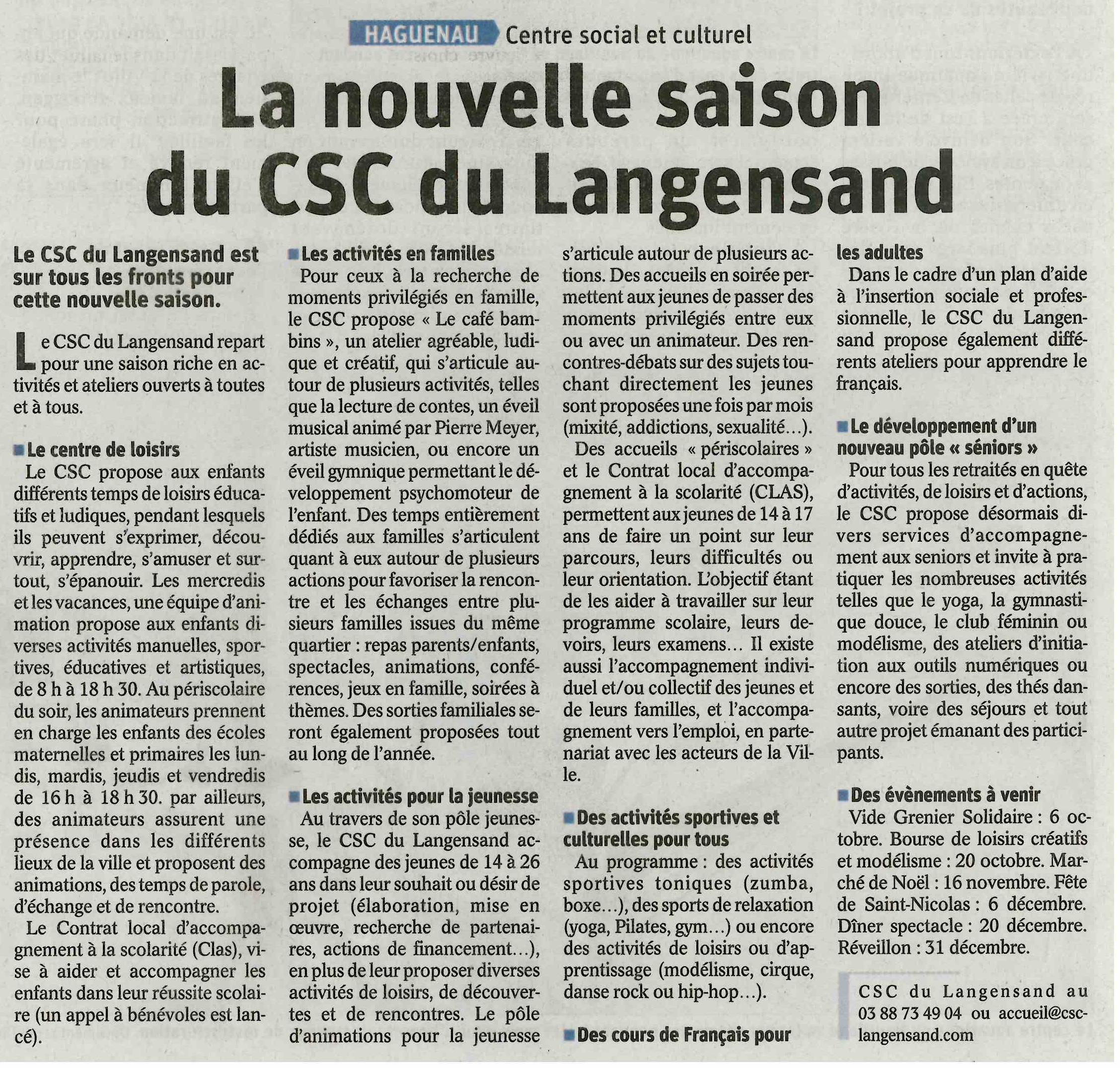 La nouvelle saison du CSC du Langensand