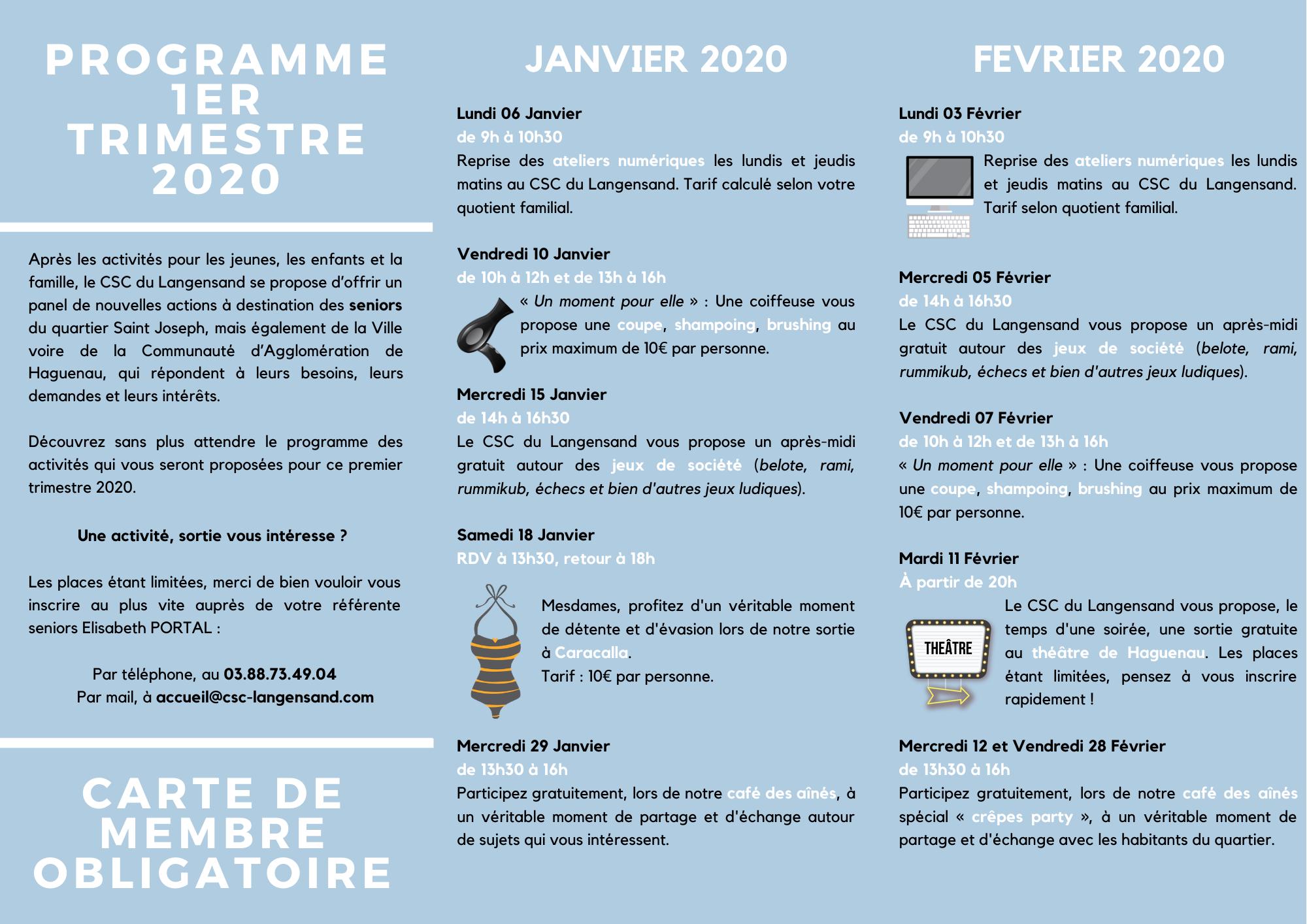 Programme d'activités pour les seniors - 1er Trimestre 2020