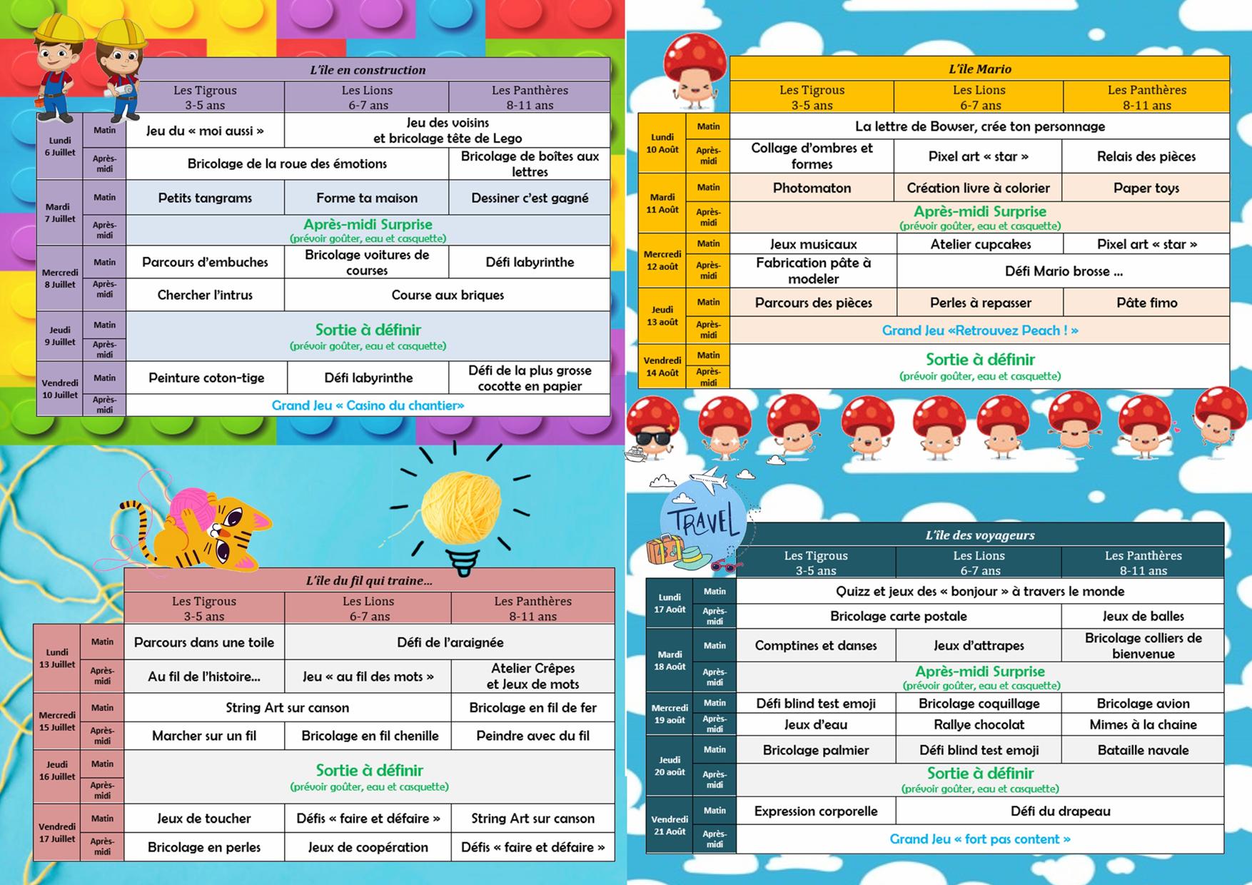 Programme d'été pour les 3-11 ans