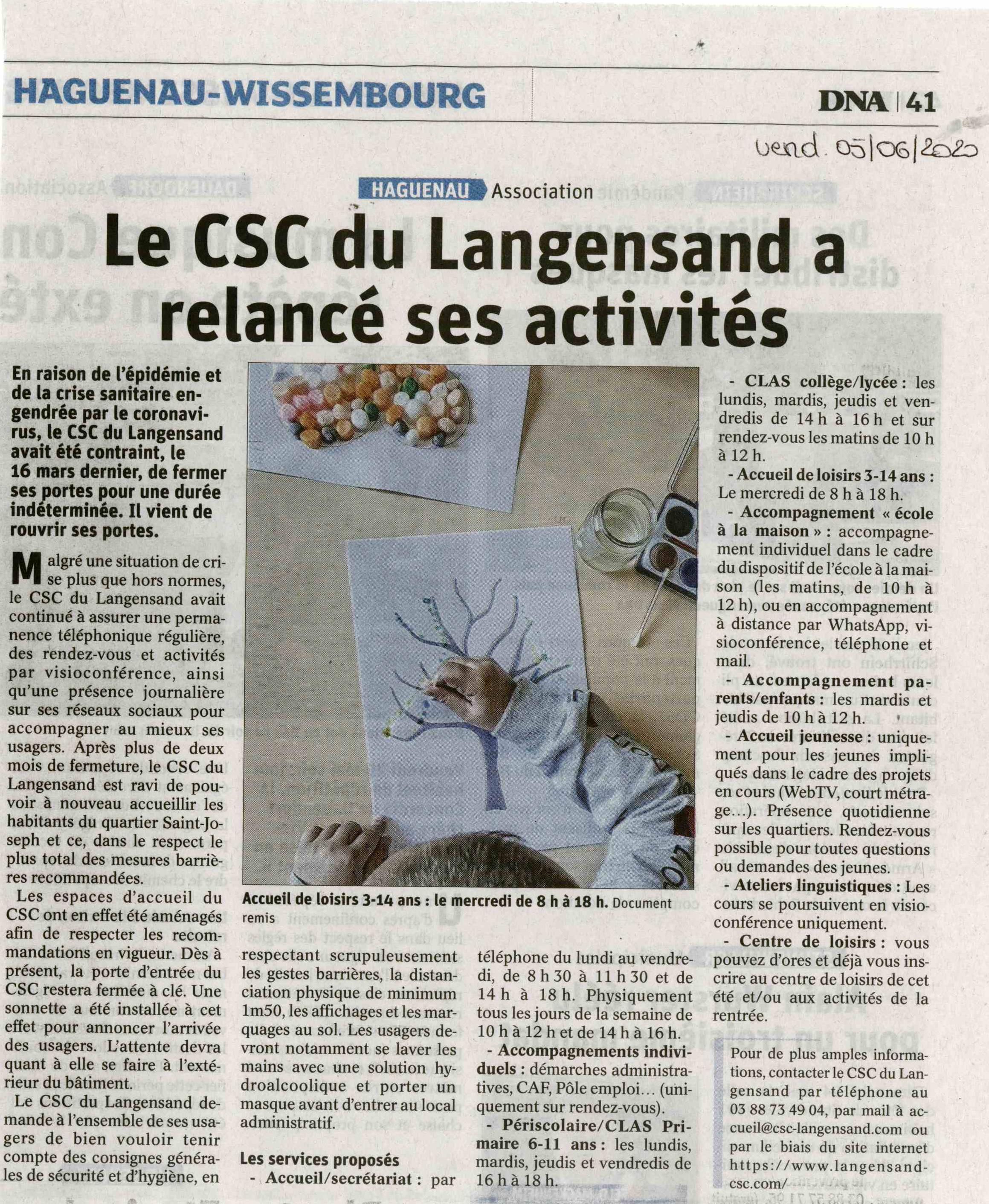 Le CSC du Langensand a relancé ses activités - Article DNA