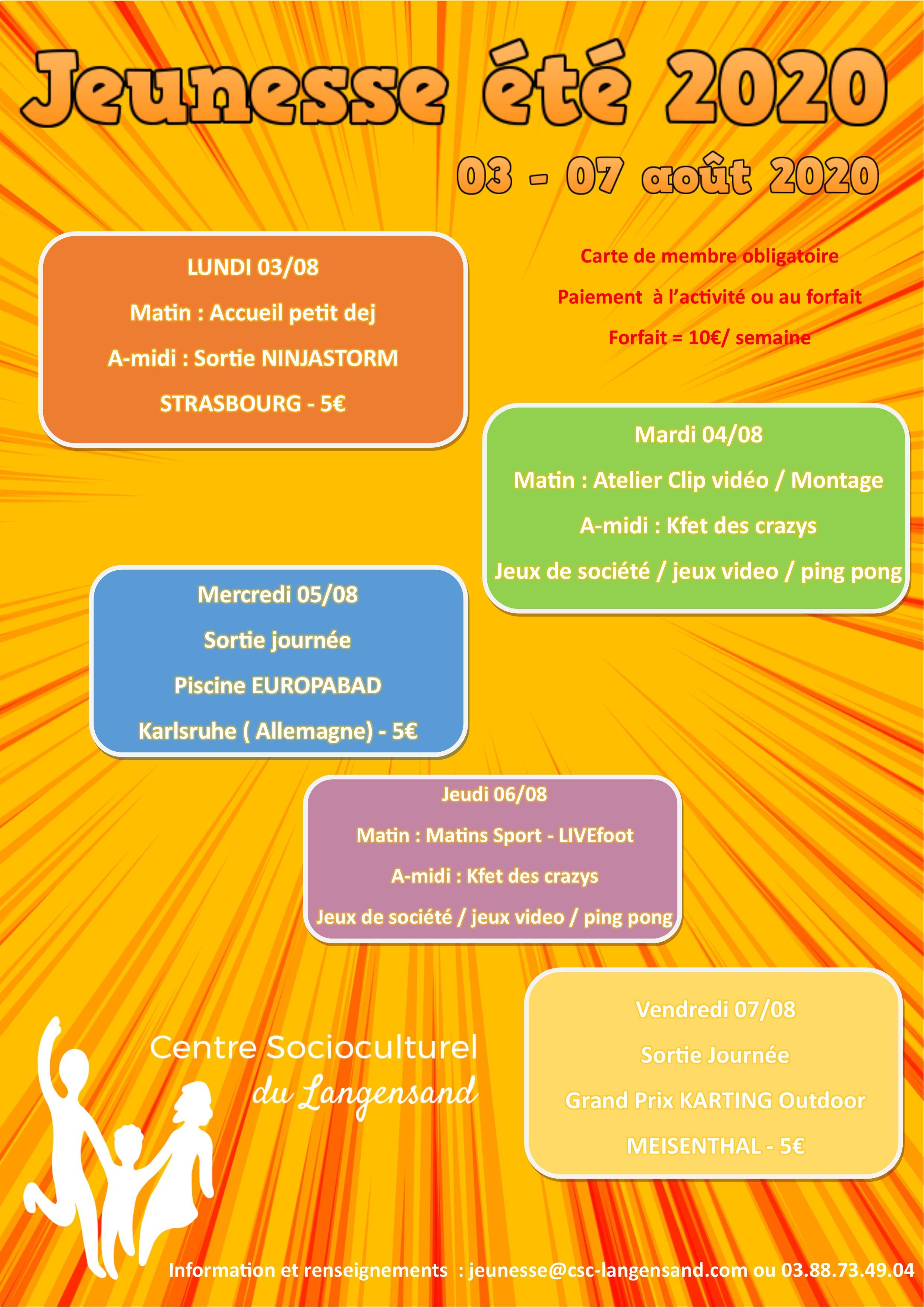 Programme Jeunesse Août 2020 (Semaine 1)