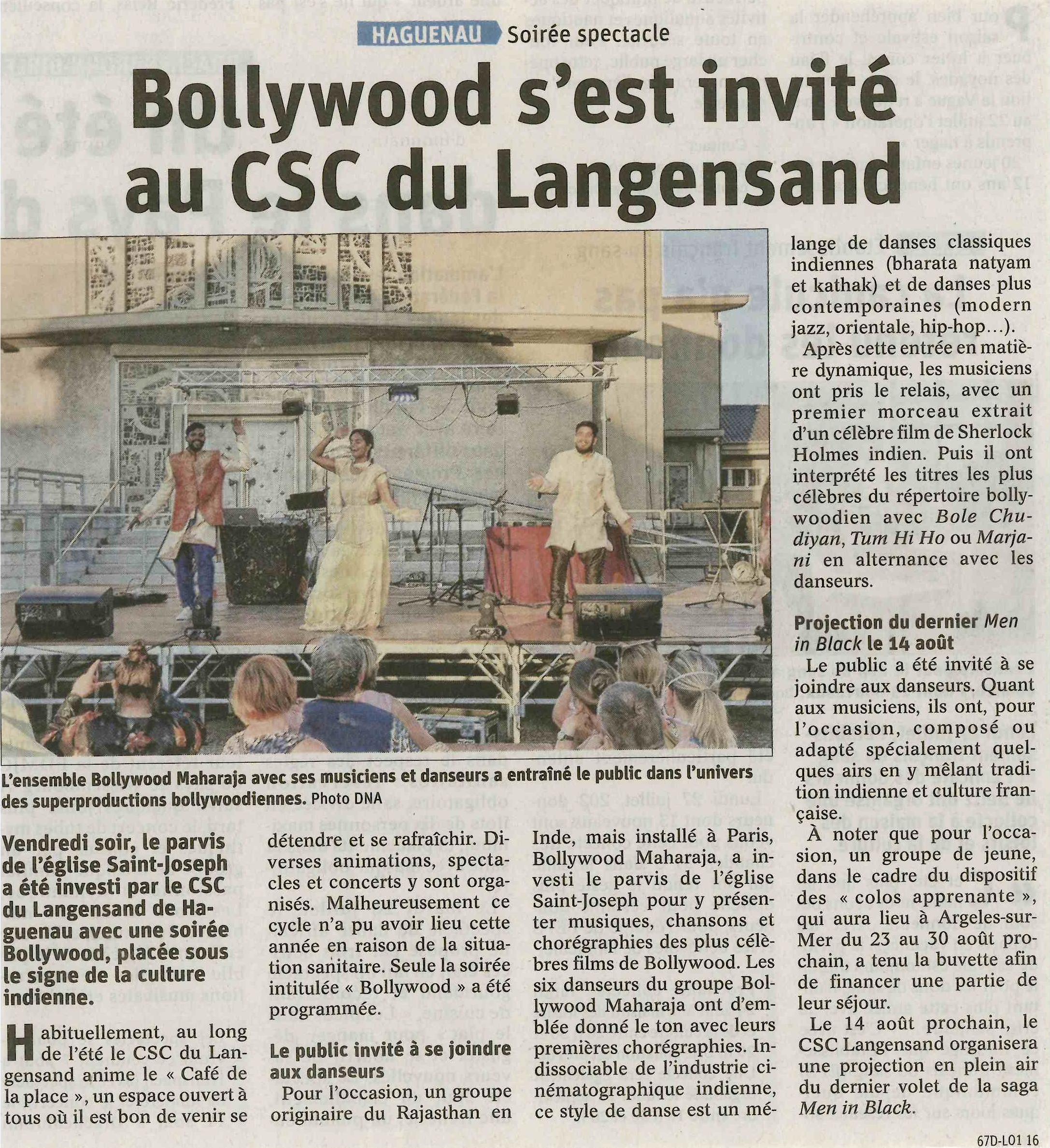 Bollywood s'est invité au CSC du Langensand - Article DNA
