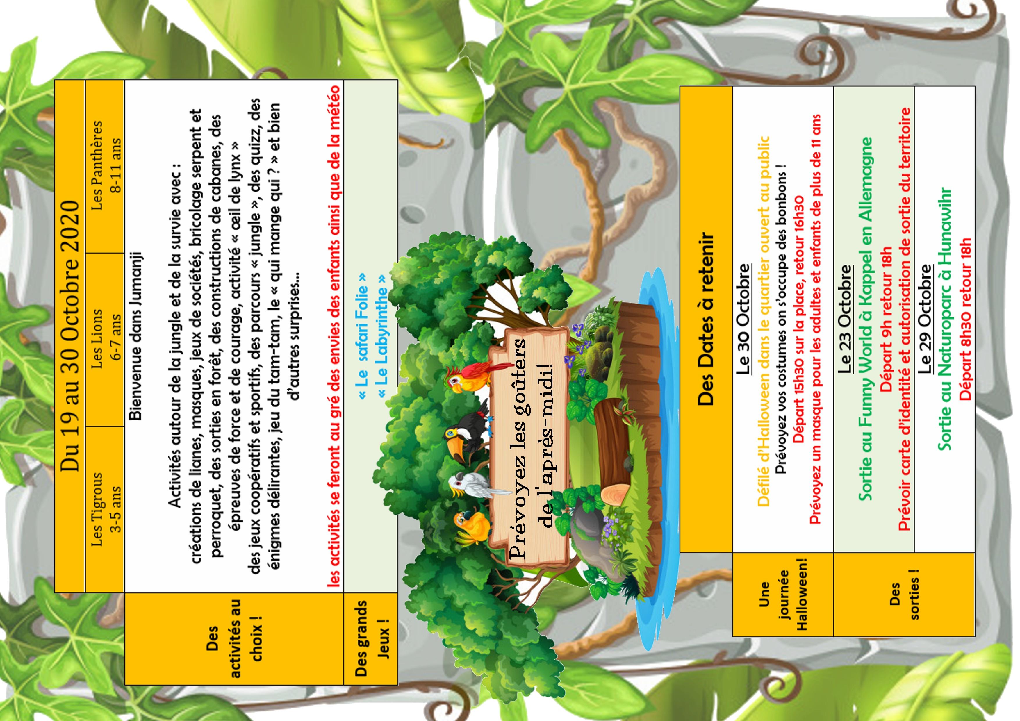 Vacances de la Toussaint (3-11 ans)