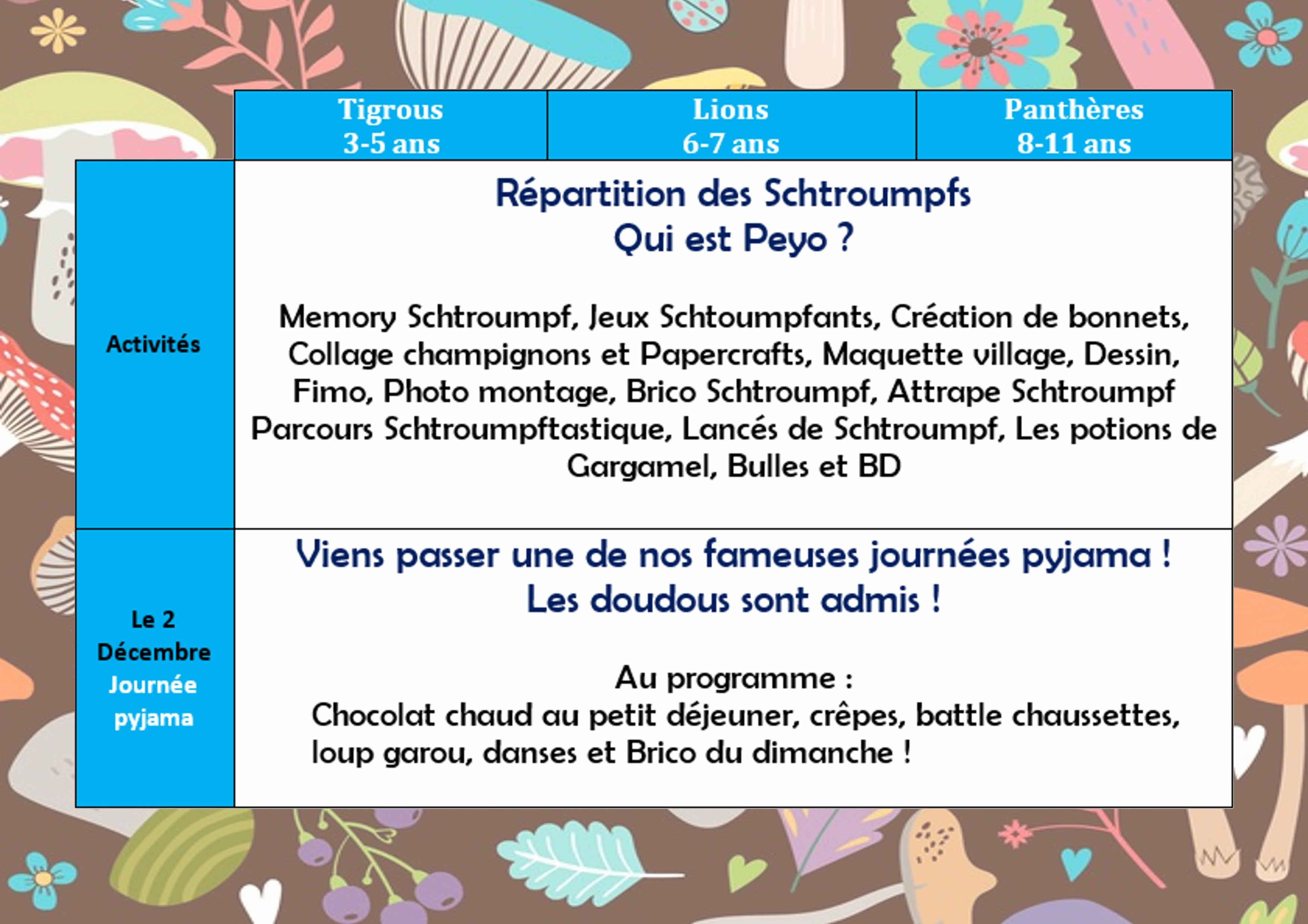 Programme du mercredi (3-11 ans) - Novembre / Décembre