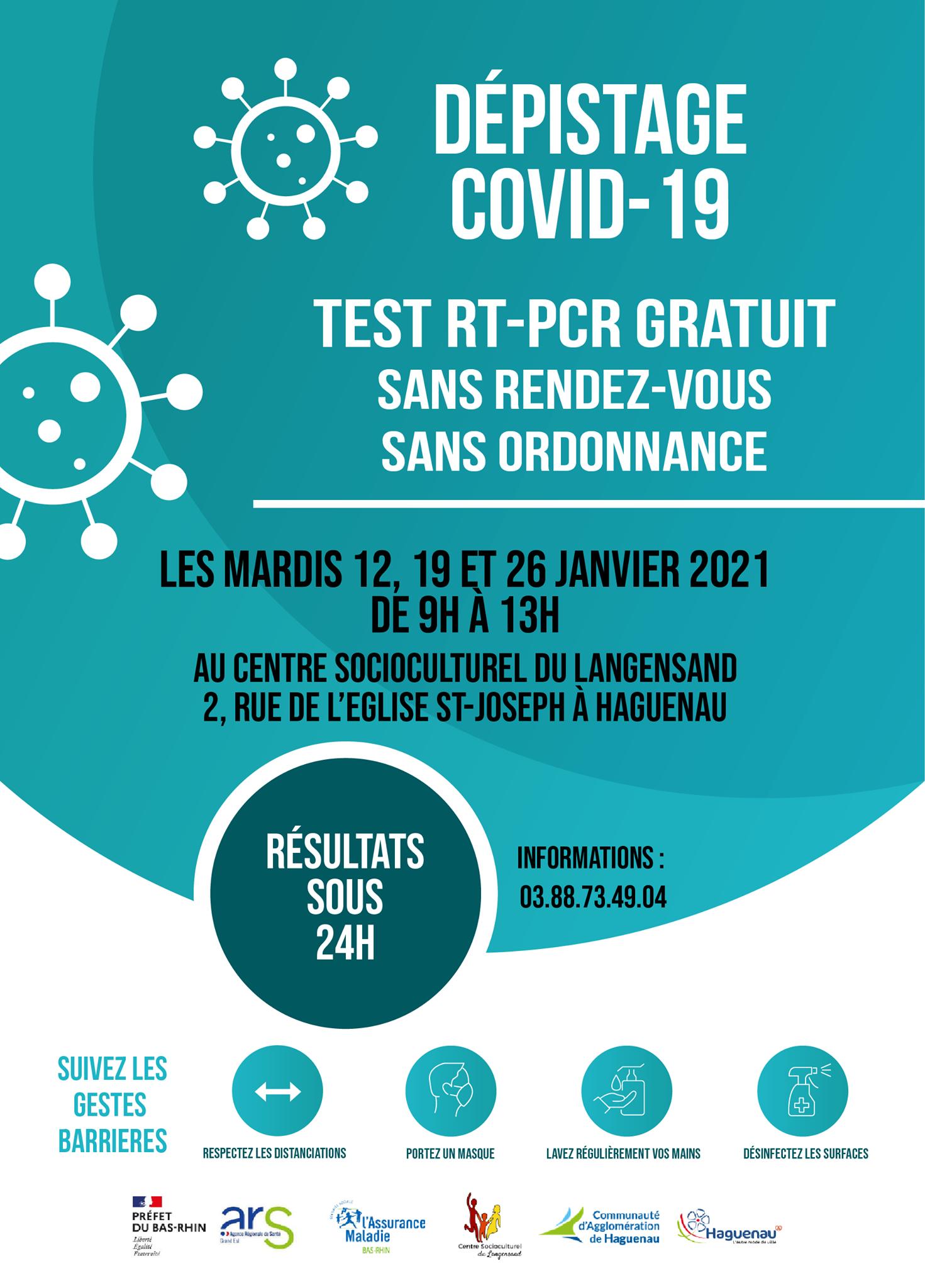 Campagne de dépistage gratuite - Covid 19