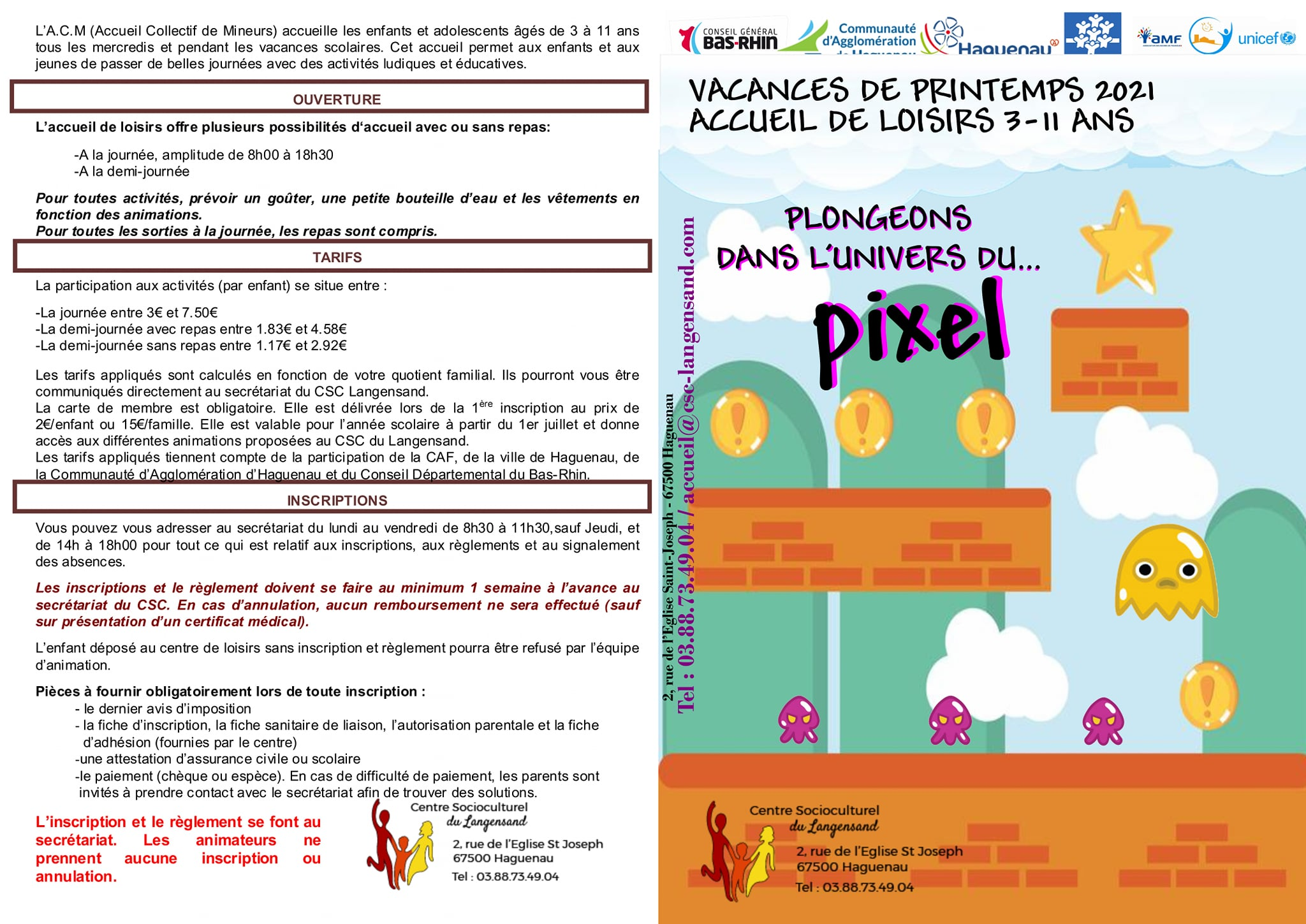 Programme vacances de printemps 3-11 ans