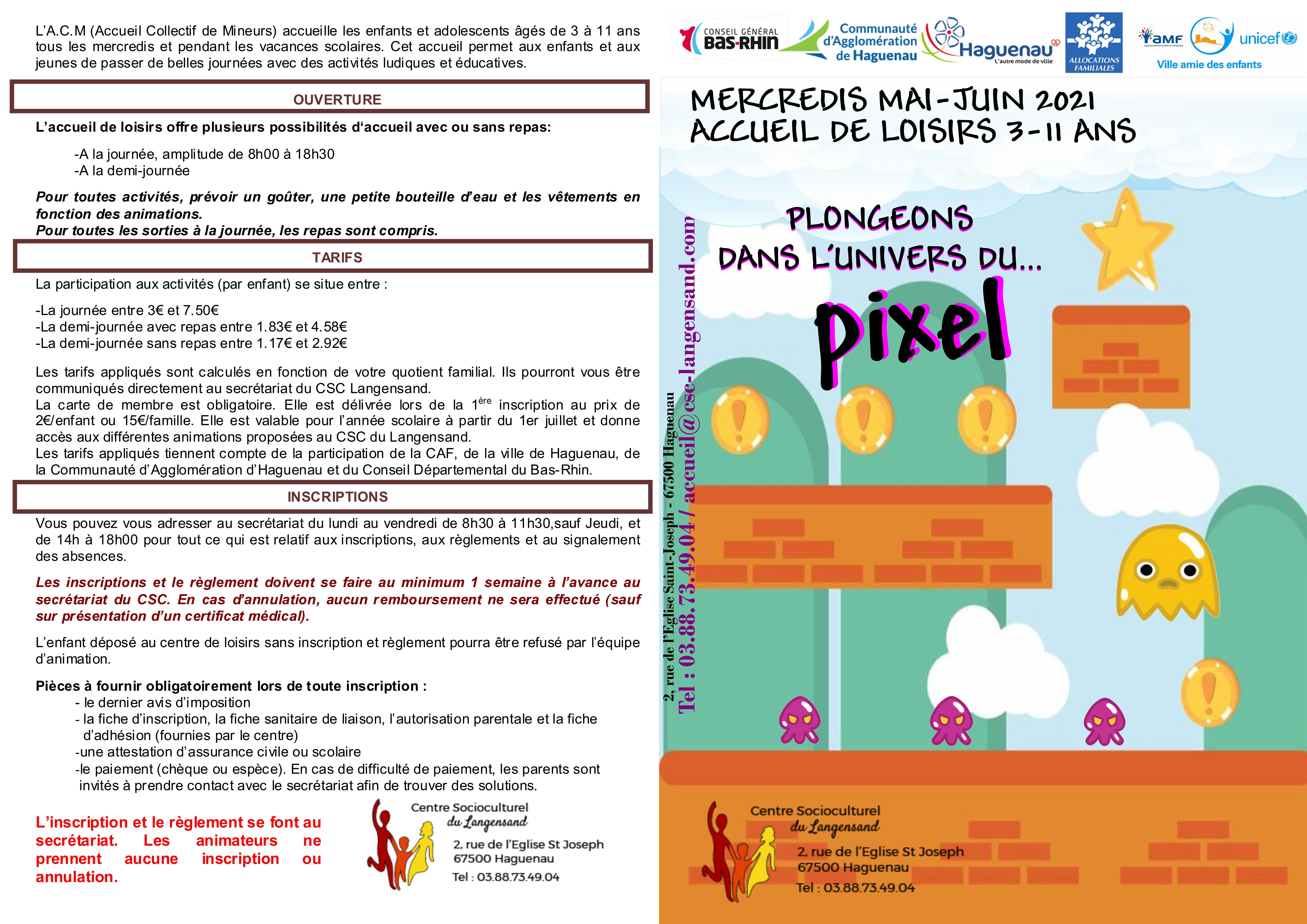 Pôle enfance : Programme mercredis Mai Juin 2021 accueil de loisirs