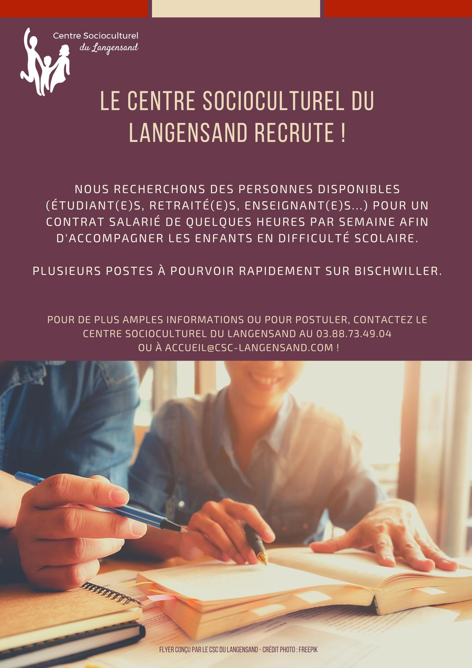 Le Centre Socioculturel du Langensand recrute !